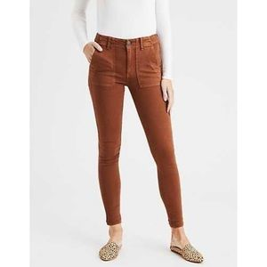 AEO | Brown High Rise Cargo Jeggings 2